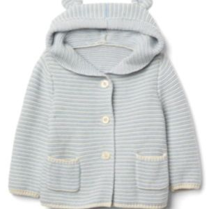 Baby Gap Blue Stripe Garter Bear Hoodie Sweater